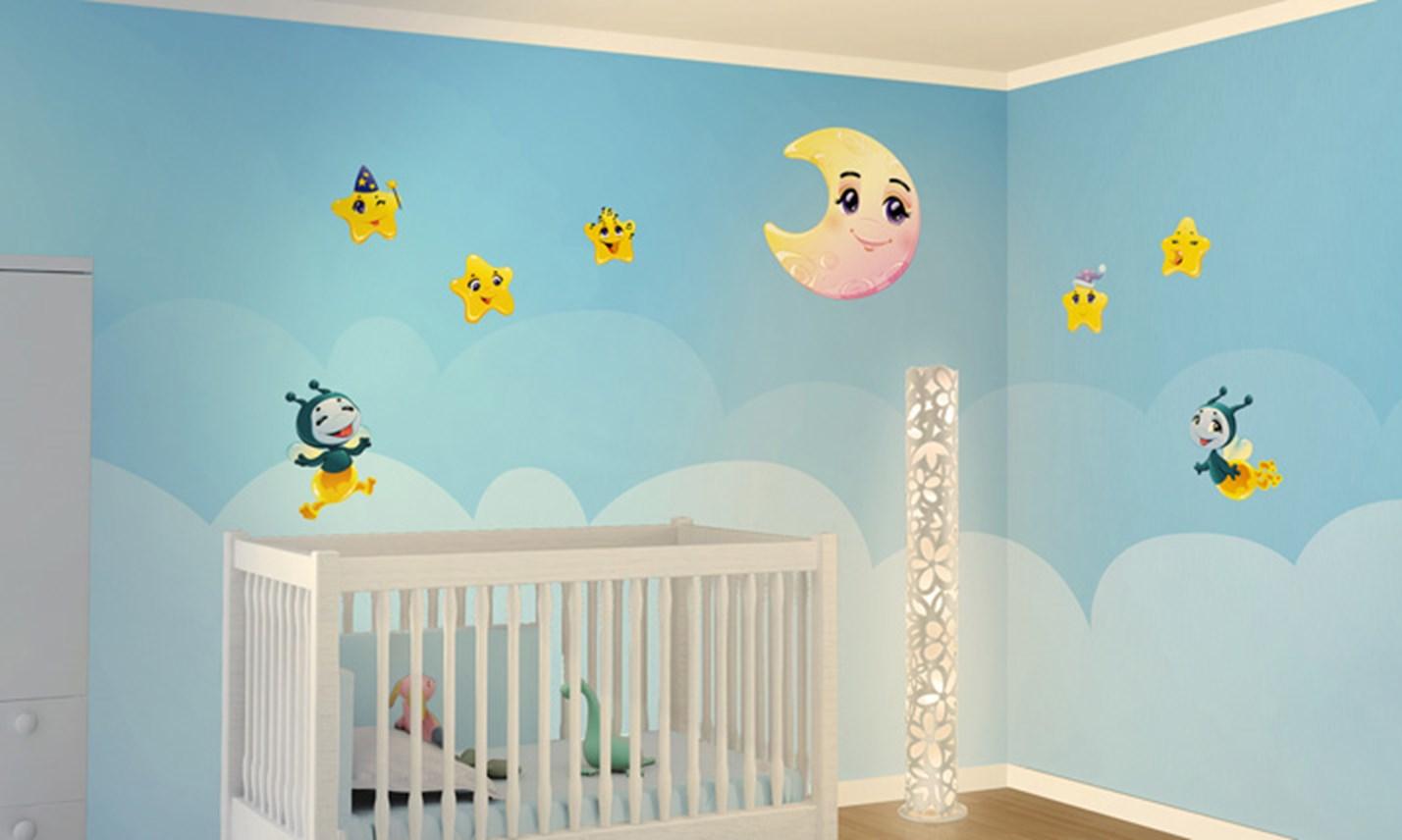 Stickers murali bambini cameretta dolce nanna leostickers - Decorazioni murali camerette ...